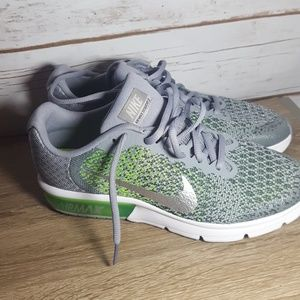 Nike Air Max sequent 2 GS grey green running shoe